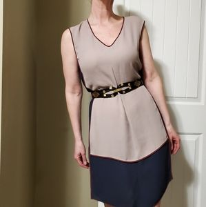 BCBG Maxazria Runway blue, tan and burgundy dress